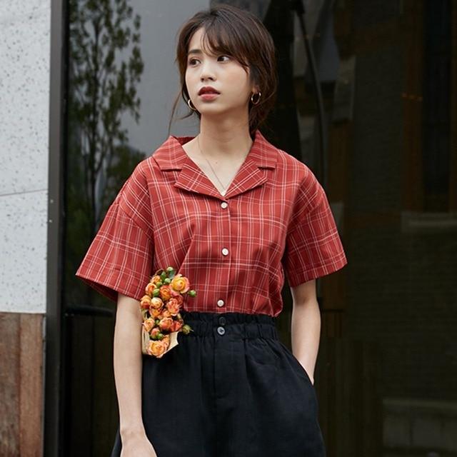 Blusas de manga corta sueltas informales a la moda blusa a cuadros con botones y cuello en V sexi para mujer