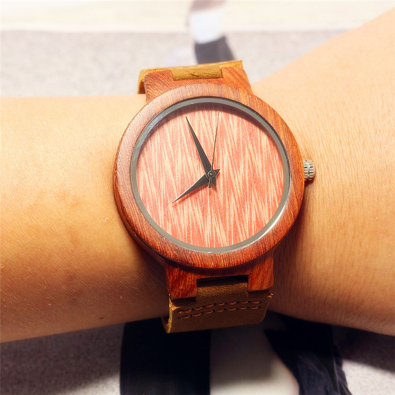HOTIME Fashion Men Red Wood Watches Japanese Movement Quartz Wristwatch Male Relogio Brown Genuine Leather Strap Wood Grain Dial