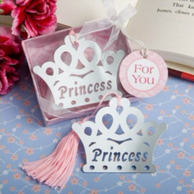 (100pcs/Lot)FREE SHIPPING+Baby Girl Shower Favors Pink Crown Themed Princess