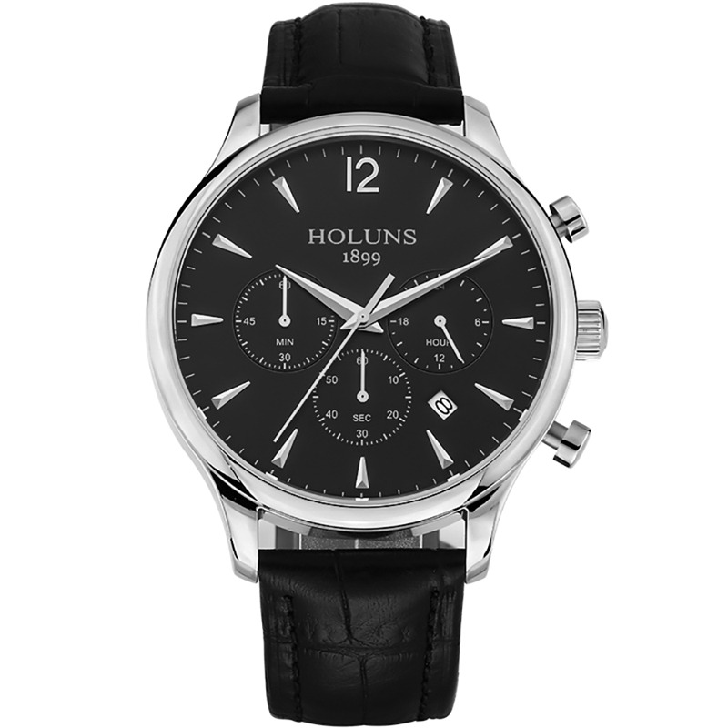 HOLUNS Waterproof Mens Watches Top Brand Luxury 24 hour Date Quartz Watch Man Leather Sport Wristwatch for Male Clock цена и фото