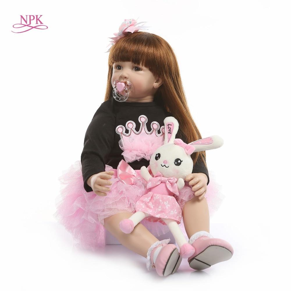 NPK 60cm Silikon Reborn Baby Puppe Spielzeug Wie Echte Vinyl Prinzessin Kleinkind Babys Puppen Mädchen Bonecas Geburtstag Präsentieren Spielen haus