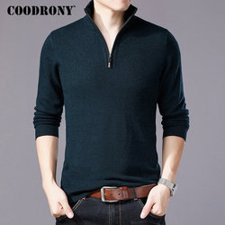 COODRONY Merino Wool Sweater Men Casual Zipper Turtleneck Pullover Men Autumn Winter Thick Warm Mens Sweaters Pull Homme W001