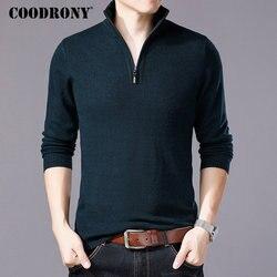 Suéter de lana Merino COODRONY para hombre jersey de cuello alto con cremallera Casual para hombre Otoño Invierno grueso cálido suéteres para hombre Pull Homme W001