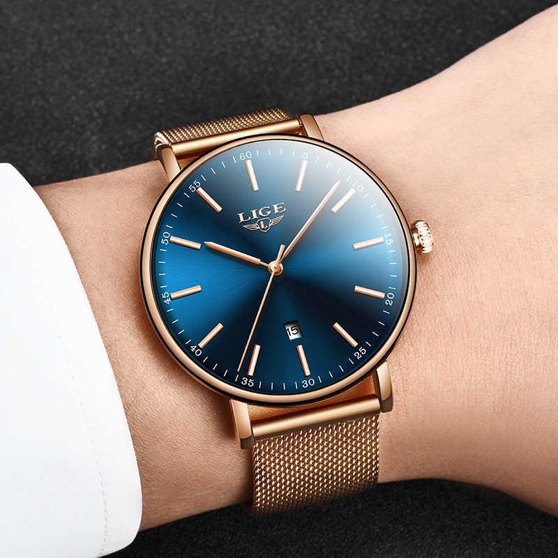 2019, женские часы, LIGE, Топ бренд, Роскошные, женские, модные, повседневные, из стали, ультра-тонкие, с сетчатым ремешком, кварцевые часы, Relogio Feminino + коробка