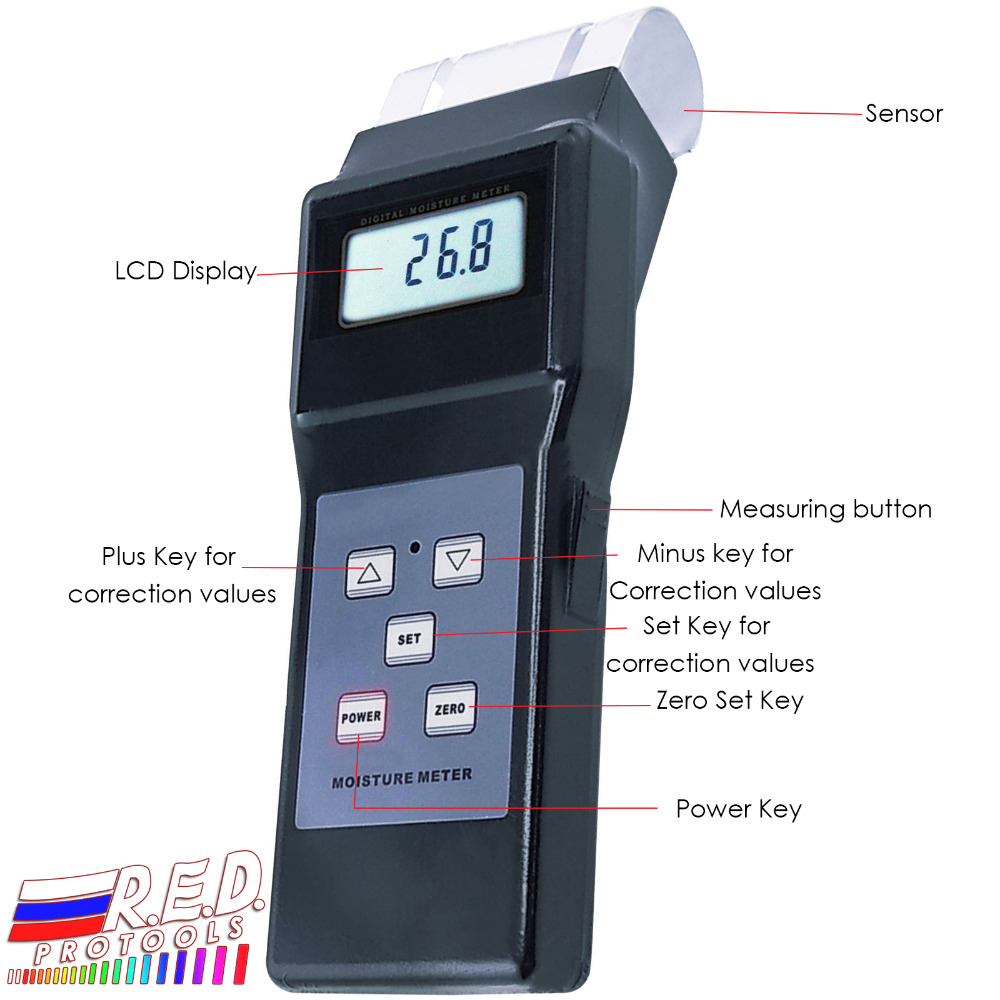 Handheld Digital Electromagnetic Search Type Inductive Wood Moisture Meter Tester Equipment No destruction 0 - 80% Range digital inductive moisture meter for measuring wood mud ground range 0 100