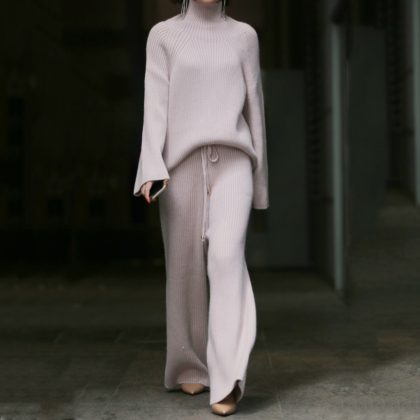 Winter Fashion Women Wool Knitting Suit Casual Thickening Choker CashmereTop And Wide Leg Pants 2 Piece Outfits For Women