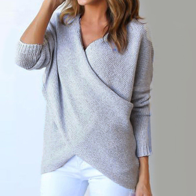 2017 Winter Autumn Warm Sweaters Criss Cross Solid Loose V Neck Ladies  Casual Office Tops Pullover