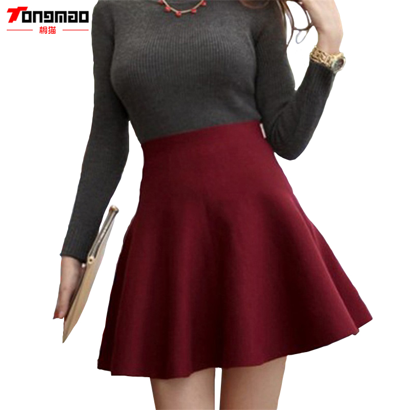 TONGMAO Spring Skirts Women's Autumn New Design Fashion High Waist Short Mini Pleated Wool Plaid Women's A-Line Ball Gown Skirts