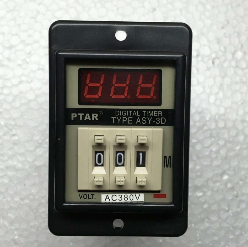 ASY-3D Panel Mount 1-999 Minute 8 Pins  Black Digital Timer Time Delay Relay AC380V AC220V DC12V DC24V ac380v panel mount 8p 1 999900 count range digital counter relay dh48j dpdt