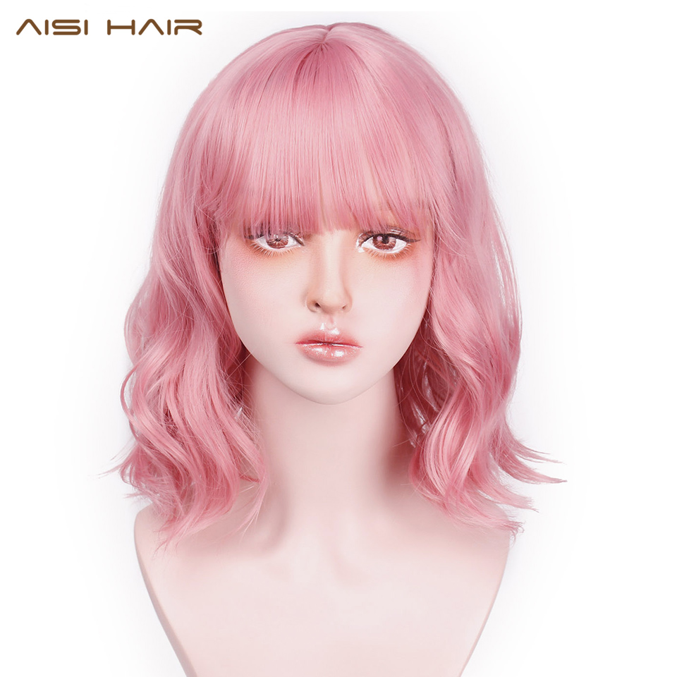 AISI HAIR Short Pink Wavy Synthetic Wig With Bang Purple Wave Wig Can Be Cosplay Halloween Hair For Women