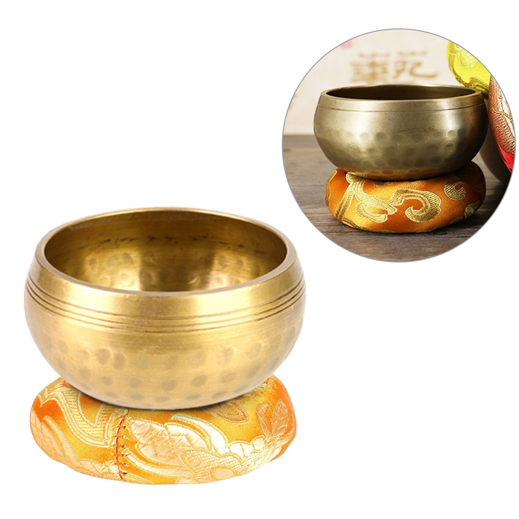 Buddhism Tibetan Bowl Copper Singing Bowls Handmade Decorative-Wall-Dishes Yoga Bowl Cotton Round Cushion Home Decor Crafts