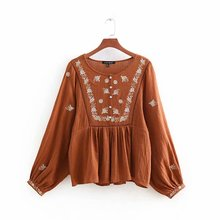 Summer Women Tops Solid O-Neck Shirts Casual Embroidery Lantern Sleeve Sweet Vintage Loose Female Printed