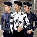 Envío libre camisa masculina 2016 de los hombres camisas Del Club de la vendimia Coreana impresa flor de manga larga slim fit camisas de vestir casuales