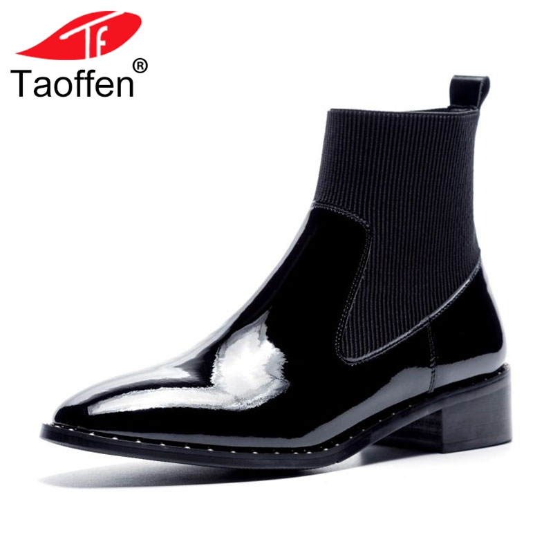 TAOFFEN Women Ankle Boots Real Leather Round Toe Square Heels High Quality Shoes Women Classic Fashion Women Footwear Size 34-40TAOFFEN Women Ankle Boots Real Leather Round Toe Square Heels High Quality Shoes Women Classic Fashion Women Footwear Size 34-40