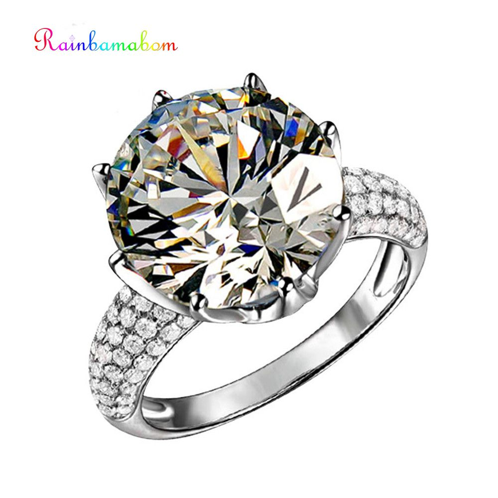Rainbamabom Real 925 Sterling Silver Created Moissanite Gemstone Engagement Crown Rings Wedding Band Jewelry Gift Wholesale 5-12