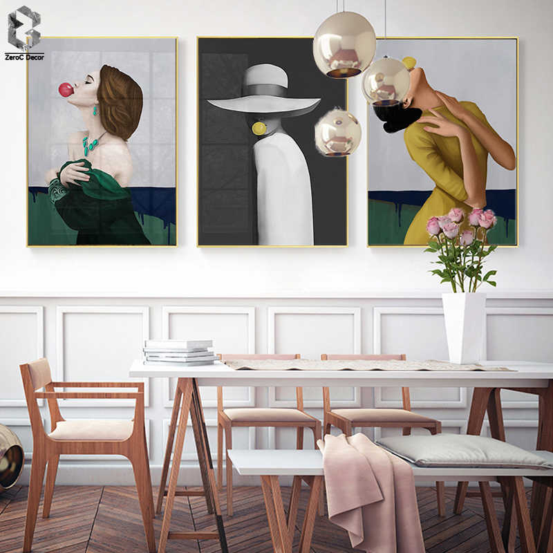 Modern Wall Charts Bubble Chewing Gum Ladies Portrait Canvas Decorative Paintings Wall Pictures for Living Room Home decor