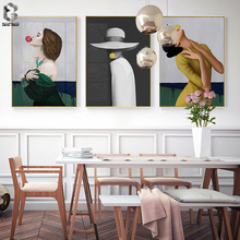 Modern Wall Charts Bubble Chewing Gum Ladies Portrait Canvas Decorative Paintings Pictures for Living Room Home decor