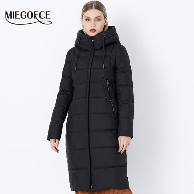MIEGOFCE 2019 Зимняя новая коллекция био-пух длинный капюшон зимнее женское пальто европейский стиль теплая стильная зимняя куртка качественный материал распродажа