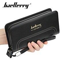 Baellery Double Zipper Men Long Wallets Vintage PU Leather Male Clutch Purse Phone Card Holder Mens