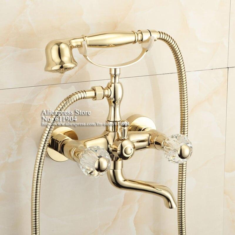 Gold Color Bathroom Clawfoot Bathtub Faucet Handheld Shower Head ...