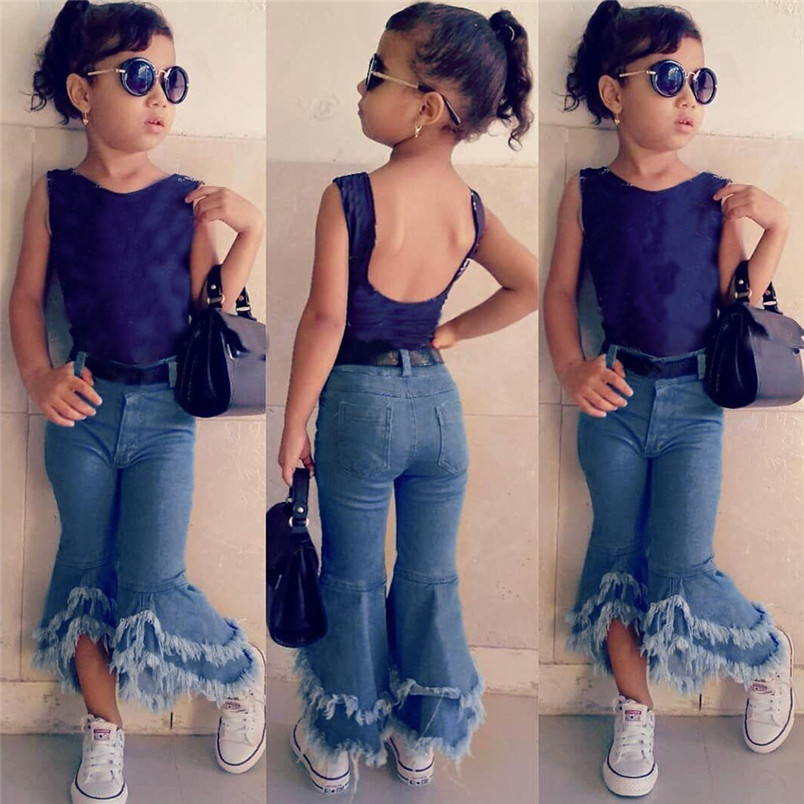 Toddler Kids Baby Girls Flare Pants Denim Tassel Clothes Jeans Pants Kawaii Jeans For Girls Kids Conjunto Infantil 40ja07
