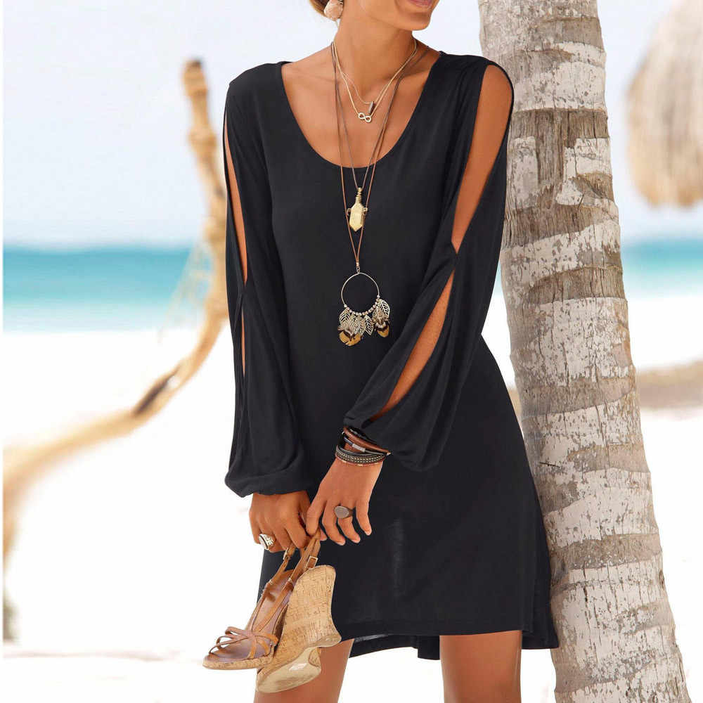 HOT SELL 2019 Fashion Women Casual O-Neck Hollow Out Sleeve Solid Beach Style SPRING  BALCK  STRAIGHT Dress