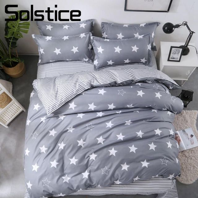 US 35 OFF Solstice Home Textile Star Stripe Gray Duvet Cover Pillowcase Sheet Kid Teen Bedding Set Boy Girl Bed Linens Single Queen Double In