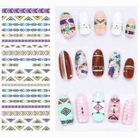 1 Sheet Geometry Tribe Nail Art Stickers Water Decals Transfer Stickers Manicure Marble Nail Design Sticker