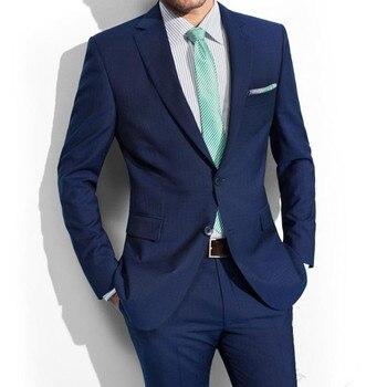 High Quality Fashion Blue Groom Tuxedos Groomsmen 2018 New Slim Fit Best Man Blazer Mens Wedding Suits (Jacket+Pants)