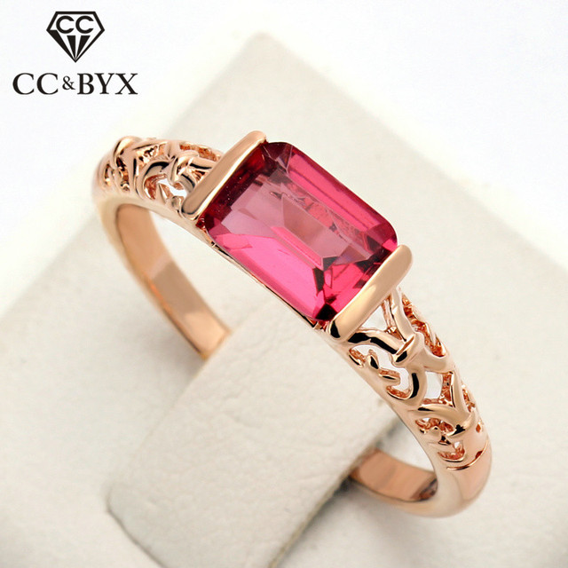 CC Trendy Vintage Jewelry Charms Rings For Women 3 Colors Red Stone Romantic Bri