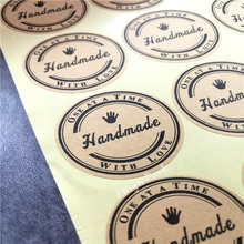 180pcs/lot 38*38mm 3.5cm Round White Hand Made Stickers Kraft Label Sticker DIY Handmade For Gift Cake Baking Sealing Sticker