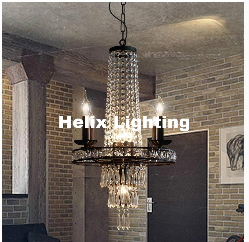 Free Shiping D44cm H80cm Nordic Vintage Crystal Chandelier Nordic E14 Iron Creativity Coffee Bar Dining Room Chandelier Lighting