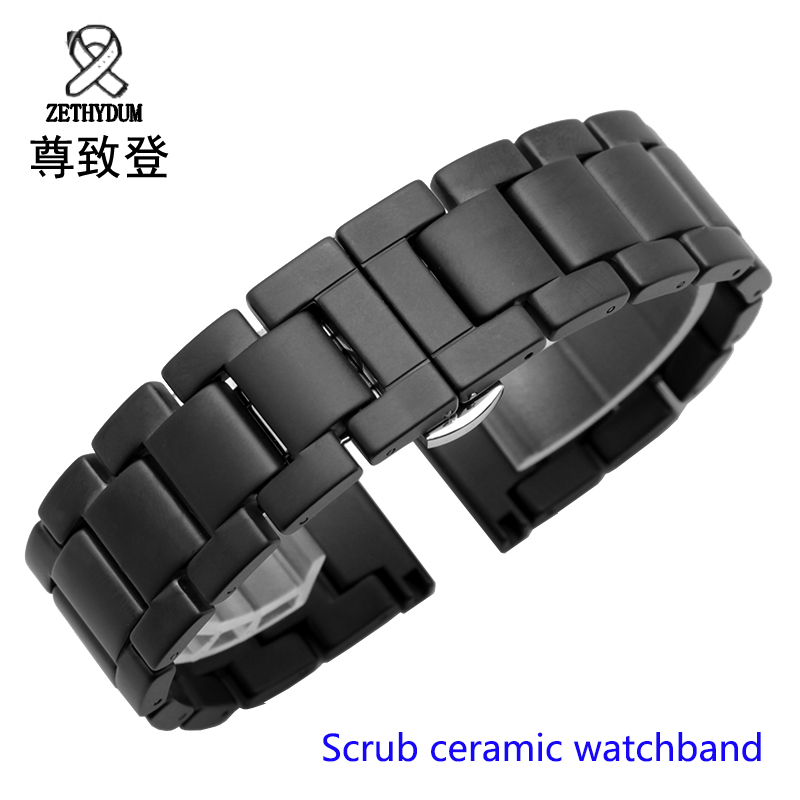 For Samsung Gear S2/S3 watchband quality scrub ceramic watch strap 20mm 22mm luxury metal bracelet for Huawei watch 2 for samsung gear s2 classic black white ceramic bracelet quality watchband 20mm butterfly clasp