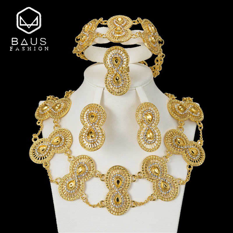 BAUS 2018 Dubai Gold Color Jewelry Sets fashion Design Nigerian Women Wedding Jewelry African Jewelry Sets Wholesale Accessories