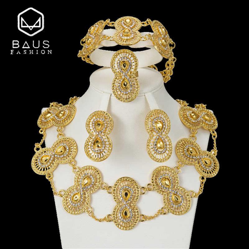 BAUS 2018 Dubai Gold Farbe Schmuck Sets fashion Design Nigerianischen Frauen Hochzeit Schmuck Afrikanischen Schmuck Sets Großhandel Zubehör