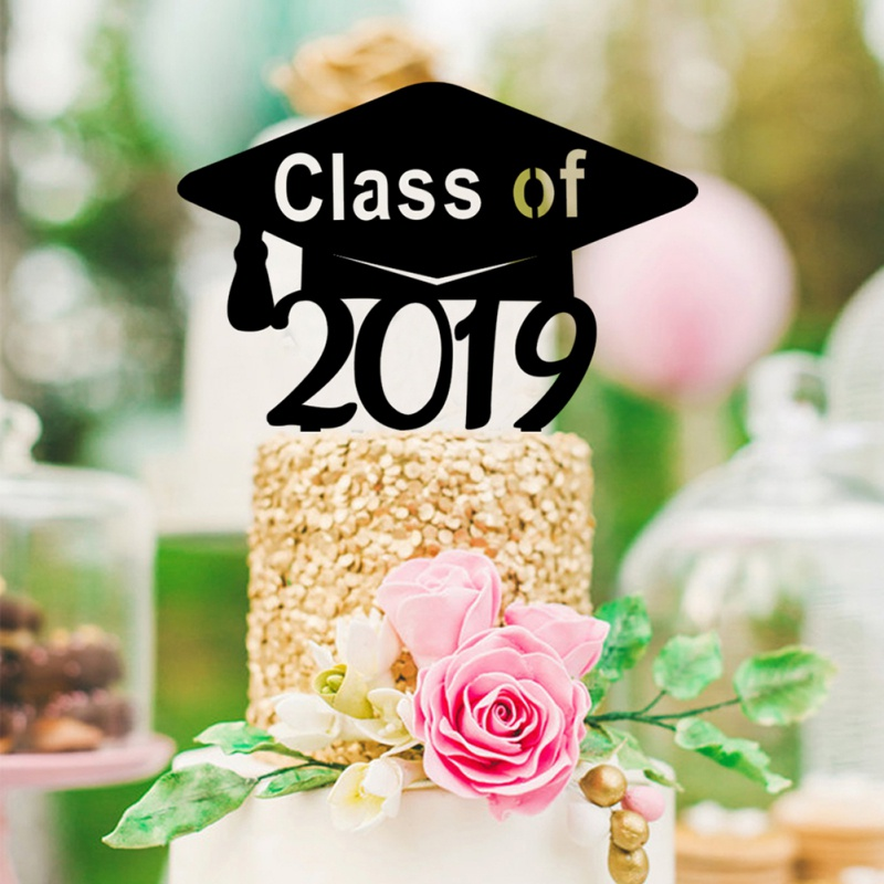 Congrats Grad Cake Topper Black Class Of 2019 Acrylic Cake Picks Cake Toppers For College Graduate High School Graduation