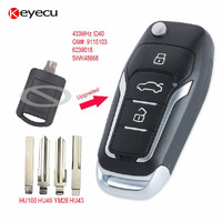 Keyecu Replacement Upgraded Flip Remote Car Key Fob 2 Button 433MHz ID40 for Opel Corsa C Meriva A Tigra B TWIN TOP 5WK48668