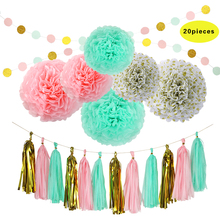Mint Gold Pink Paper Tassel Garland Paper Pom Pom Dots Paper Garland for Baby Shower, Weddings and Birthday Party Decorations