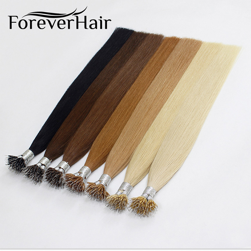 FOREVER HAIR Straight 100 Remy Human Nano Ring Hair Extensions 0 8g s 16 18 20
