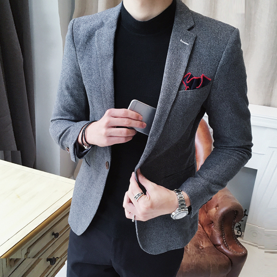 Unique Mens Blazers Vintage Slim Smart Wedding Dress Groom Suit Jackets Male Casual Blazer Men Business Suits Formal Office Work