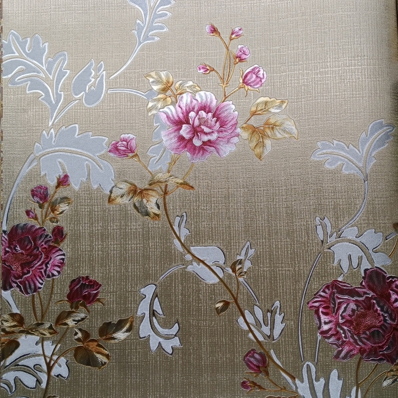 ФОТО Italian Style Living Room Flower Wallpaper Red Rose Gold Foil Wallpaper Roll European Embossed Background Yellow Wallpaper