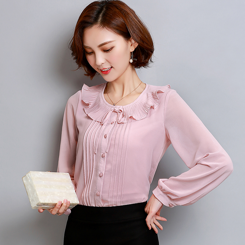 Female Autumn 2018 New Chiffon Blouse Shirt OL Fashion Ruffled Neck Long Sleeve Casual Blouses Office Plus Size 3XL Women Tops