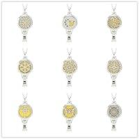 9 Styles Edelstahl Parfüm Medaillon Lanyard Anhänger Magnetische Aromatherapie Ätherisches Öl Diffusor Medaillon Lanyard (Freies Pads)