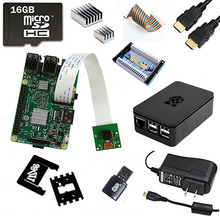 Wholesale 11 in 1 New Raspberry Pi 3 Kit+Camera 5mp Pixels with Adjustable Mount +GPIO Expasion Board+ABS Case+16GB and Reader+2.5A Power