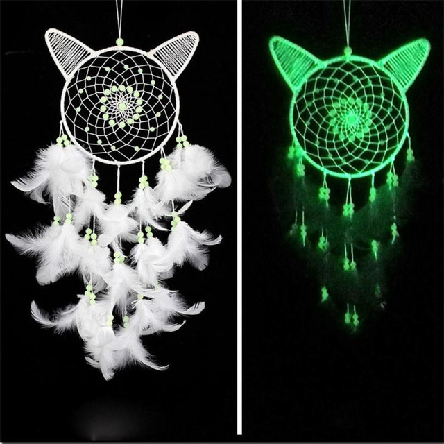 brixini.com - White Cat Luminous Dream Catcher