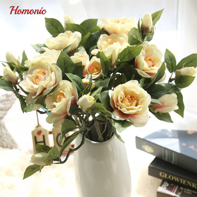 High quality 6pcs silk flowers artificial fake flower Bouquet blue ...