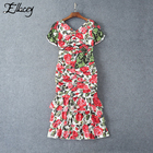 Save 25.16 on Luxury Brand 2017 Summer Runway Sequin Dress Ruffles Bow Tropical Floral Printed Dresses Women Mermaid Beading Midi Dresses
