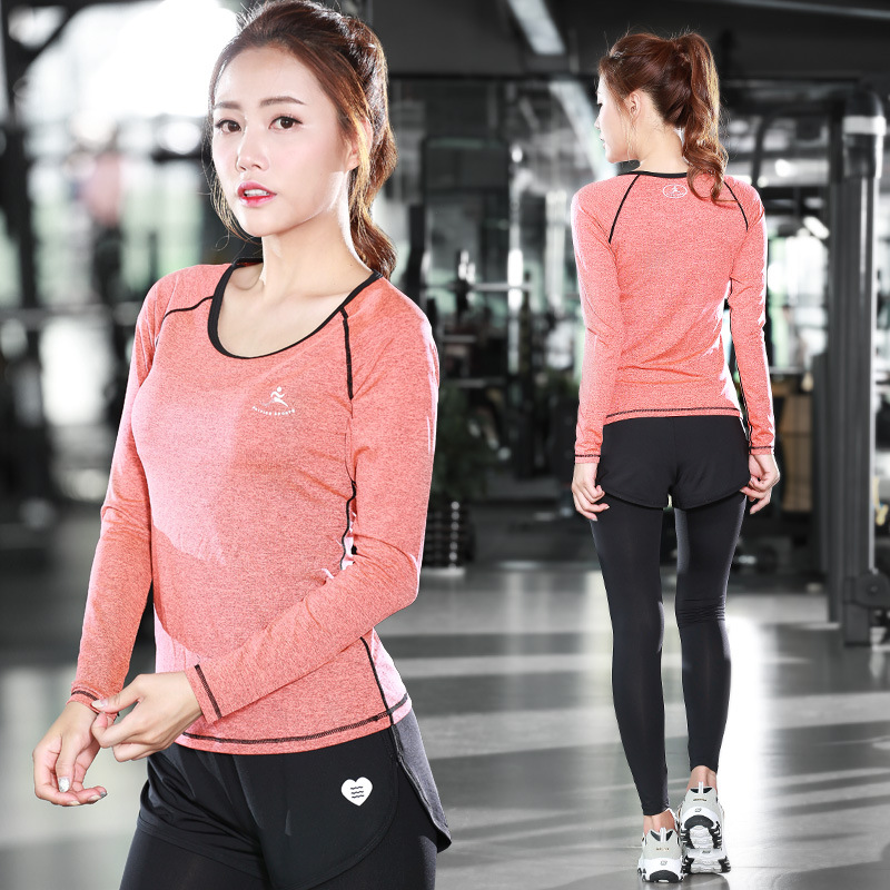 The new fitness suite female simple fast drying perspiration yoga clothes two piece sports pants long sleeved fake two