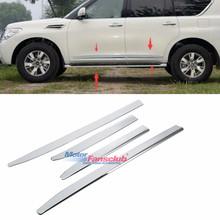 цена на Side Door Body Molding Trim Protector ABS Chrome Sliver Plate For Infiniti QX56 QX80 2011-2018