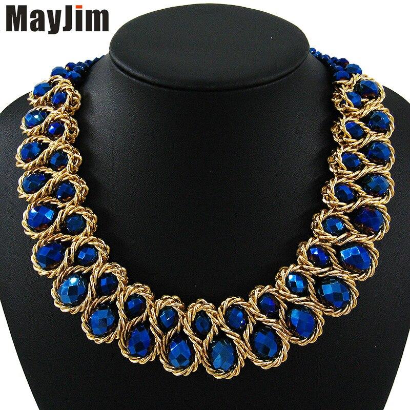 Nyilatkozat arany lánc kettős nagy gyöngy kristály nyaklánc nők - Divatékszer - Fénykép 4